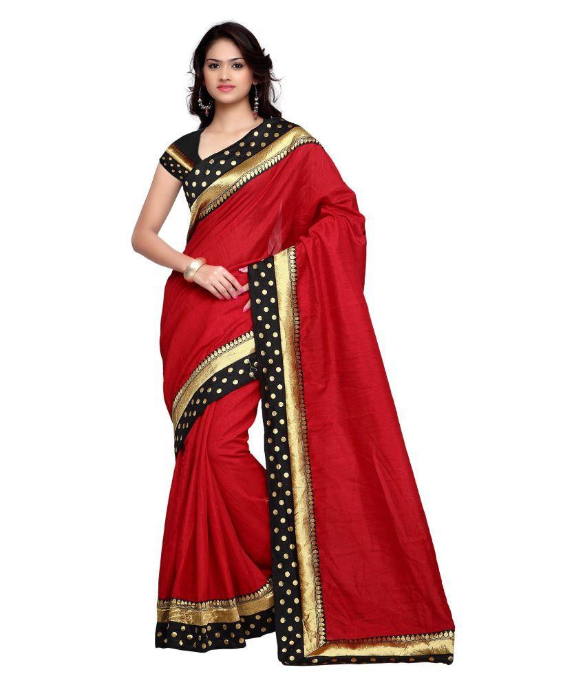 Jalaram Traders Red Bhagalpuri Silk Saree