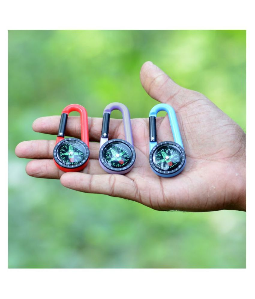 3 Pieces 2 in 1 Multi-functional Outdoor Camping Hiking Travel Carabiner Mini Compass