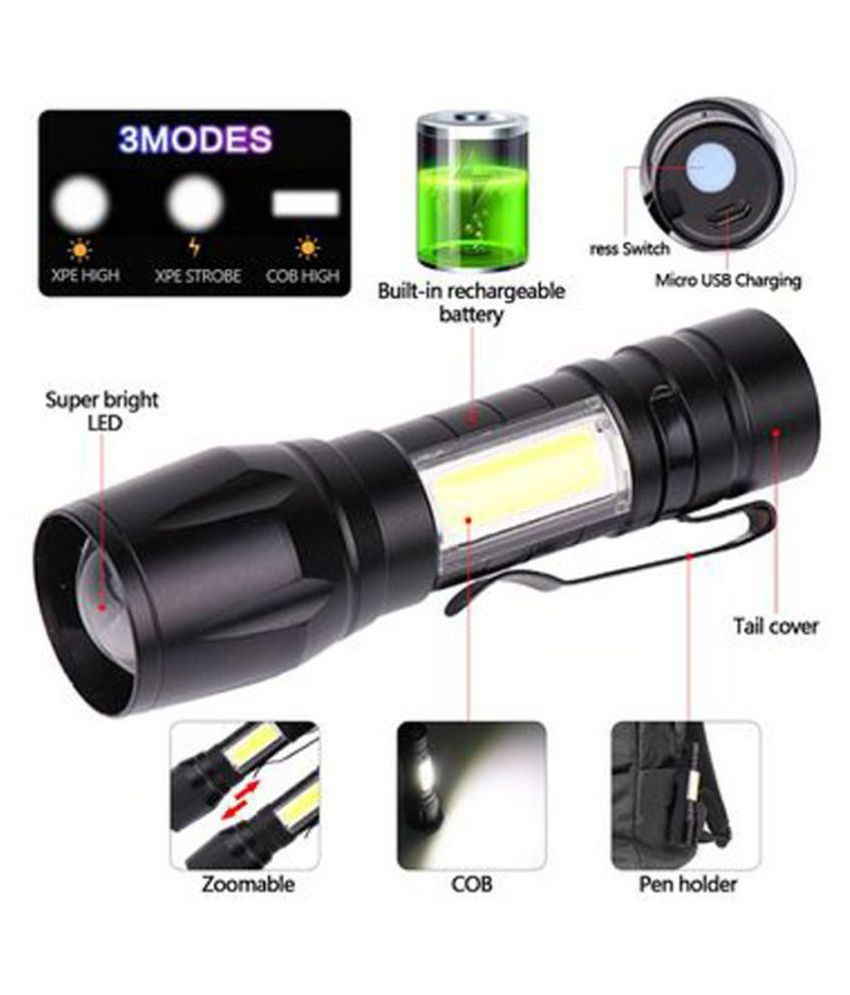 SM 12W Flashlight Torch 2 in 1 Powerful - Pack of 1
