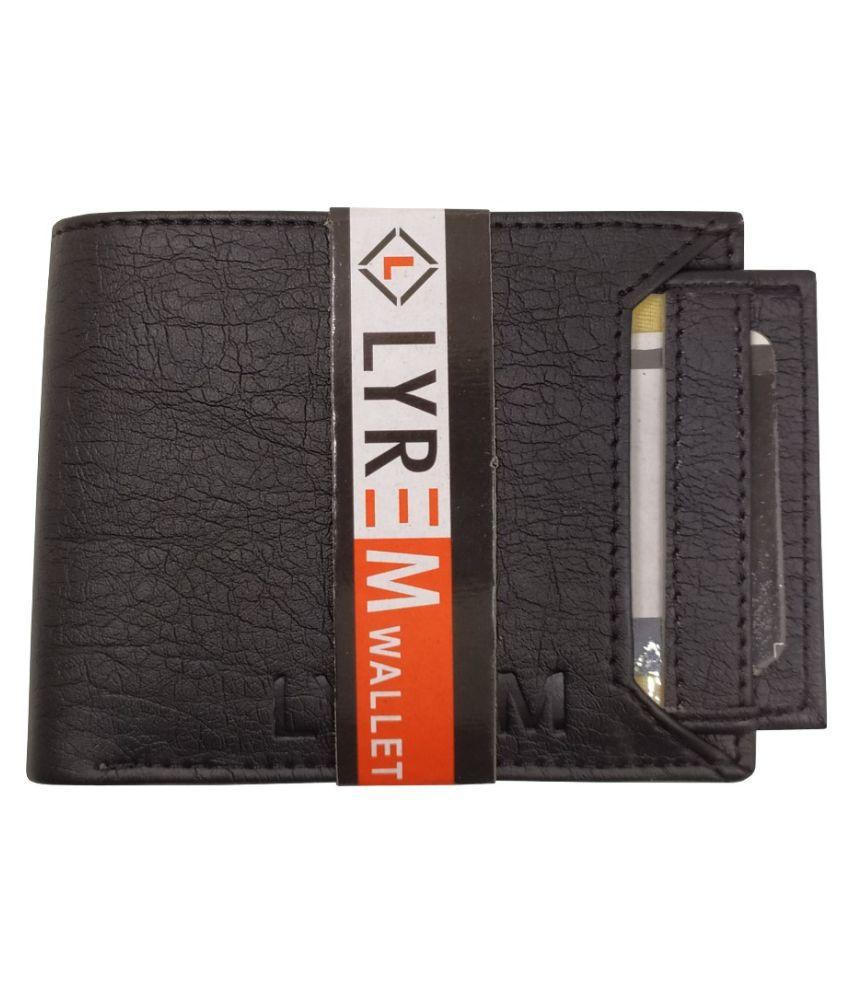 LYREM PU Black Fashion Regular Wallet