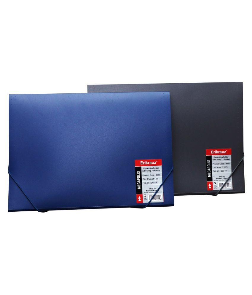 EXPANDING FOLDER 12 POCKET WITH STRAP CLOSURE SET OF 2 (GREY & BLUE)