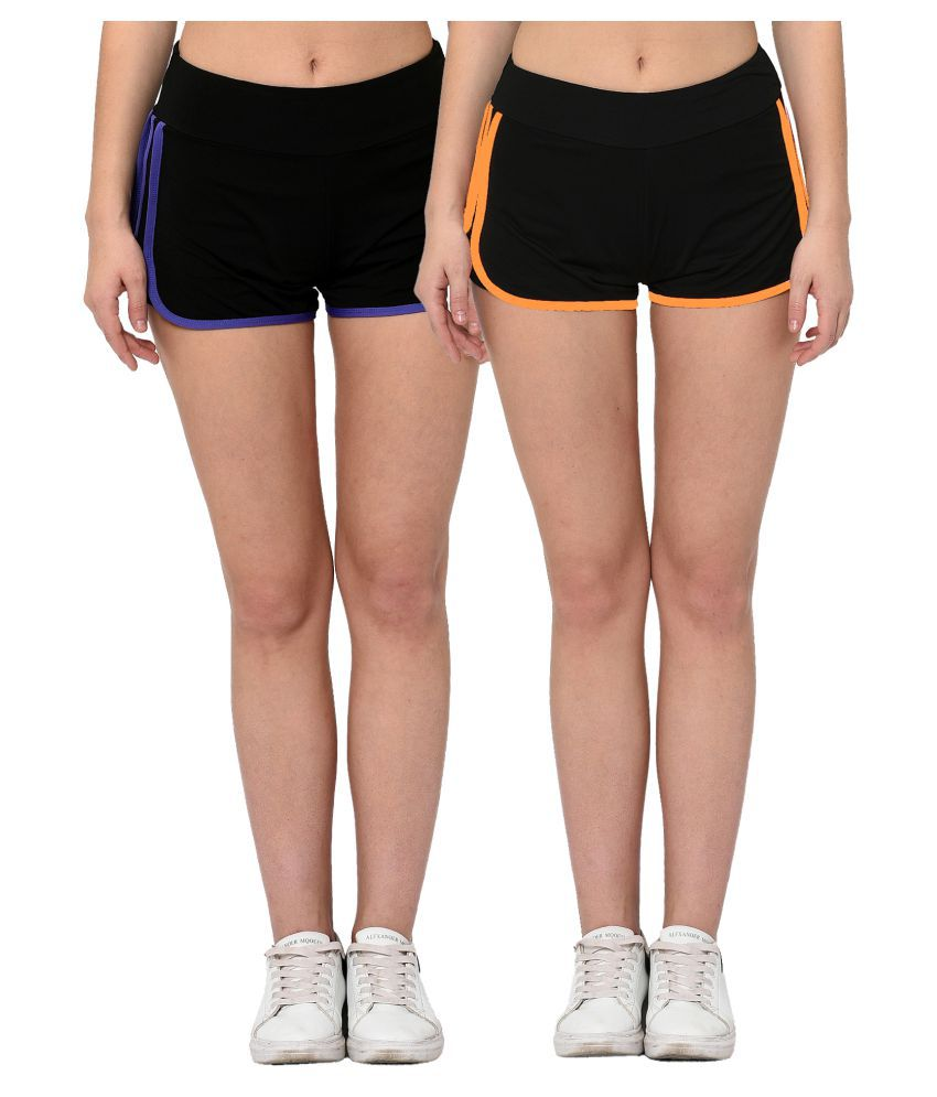 Elina Multi Color Polyester Solid Shorts