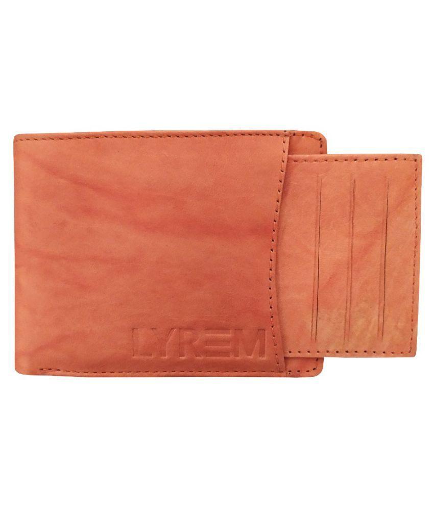 LYREM Leather Tan Formal Regular Wallet