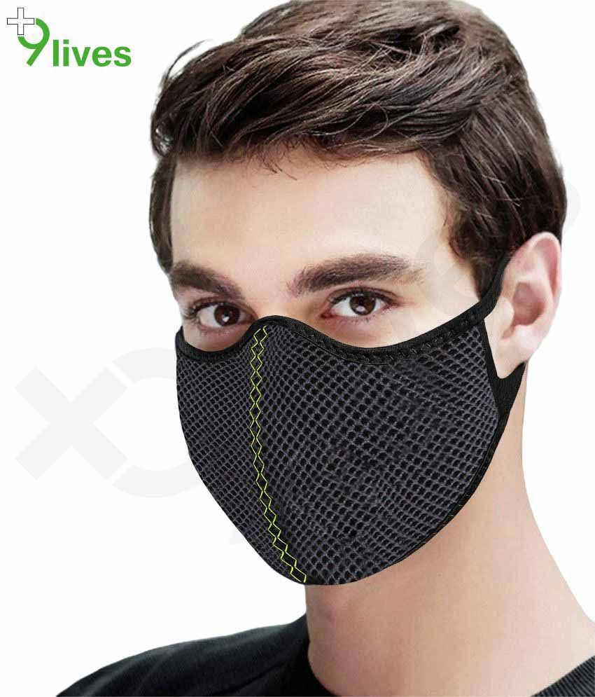 9lives 3 Layer Protection Mesh Fabric Herring Reusable Anti pollution Mask / Face cover- (Black, Pack of 1)
