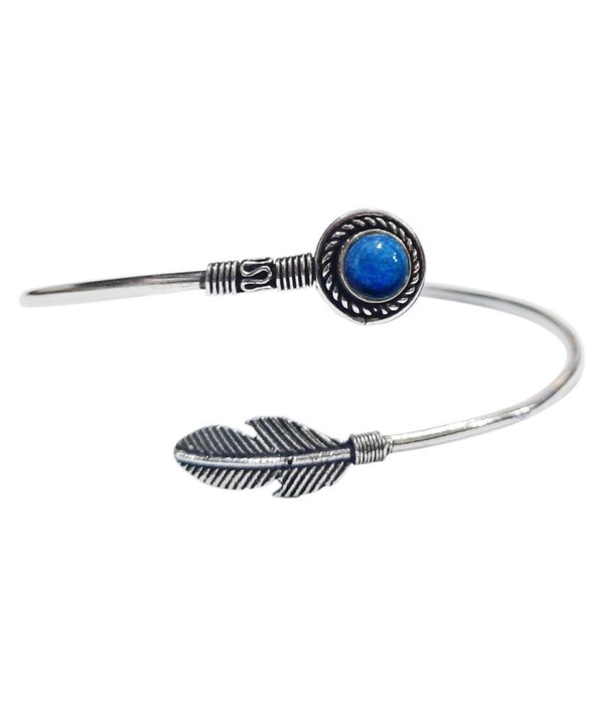 Shubhanjali® Lapis Lazuli Feather Kada Anklet for Women Oxidised German Natural Stone Silver Plated Payal/Anklet Free Size