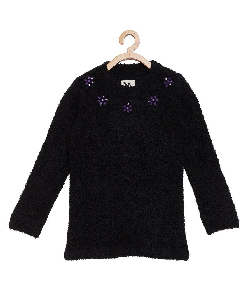 Yellow Apple Round Neck Black Sweater For Girls