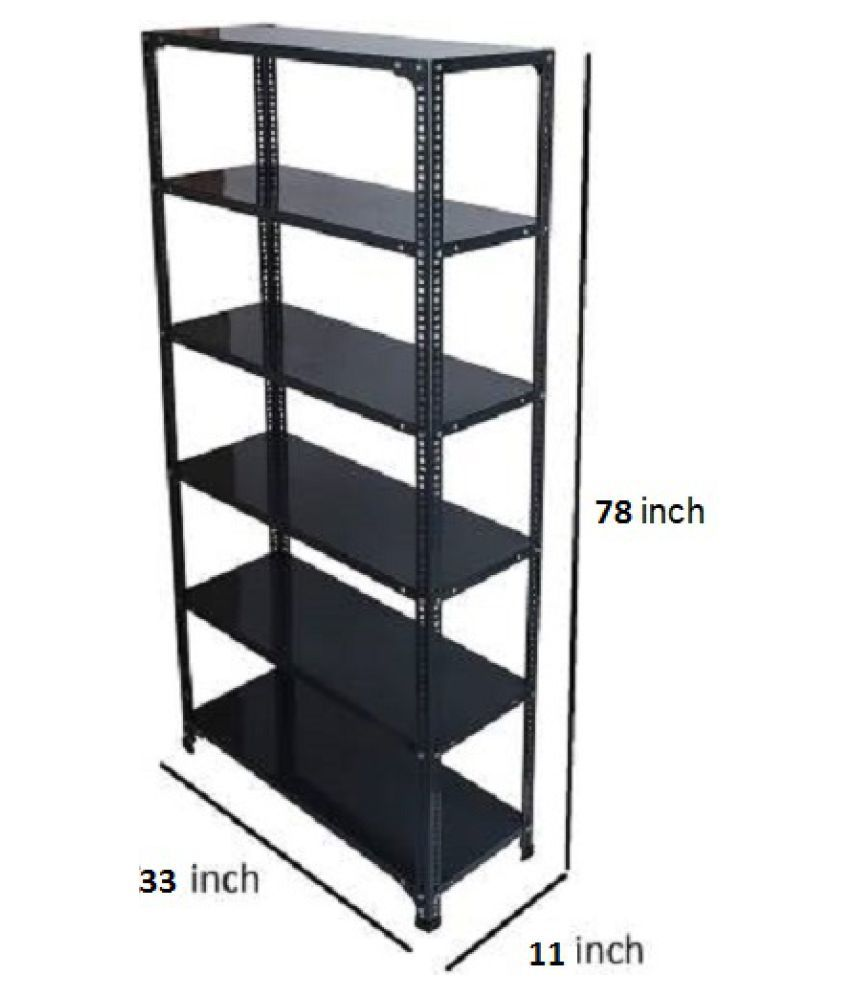 6 Shelf Slotted Angle Rack, 11x33x78 Inch, 22 Gauge sheet, 18 Gauge Angle Luggage Rack