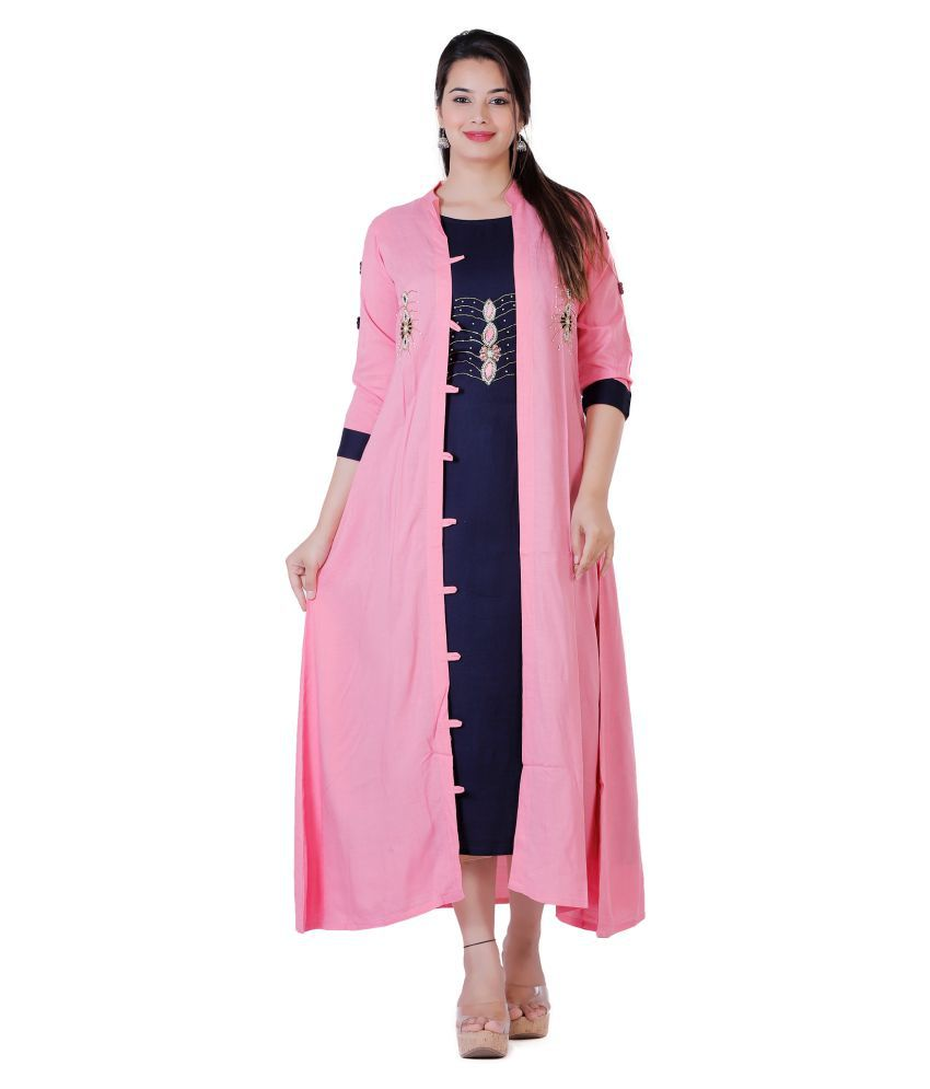 HIGHLIGHT FASHION EXPORT Pink Rayon Jacket Style Kurti