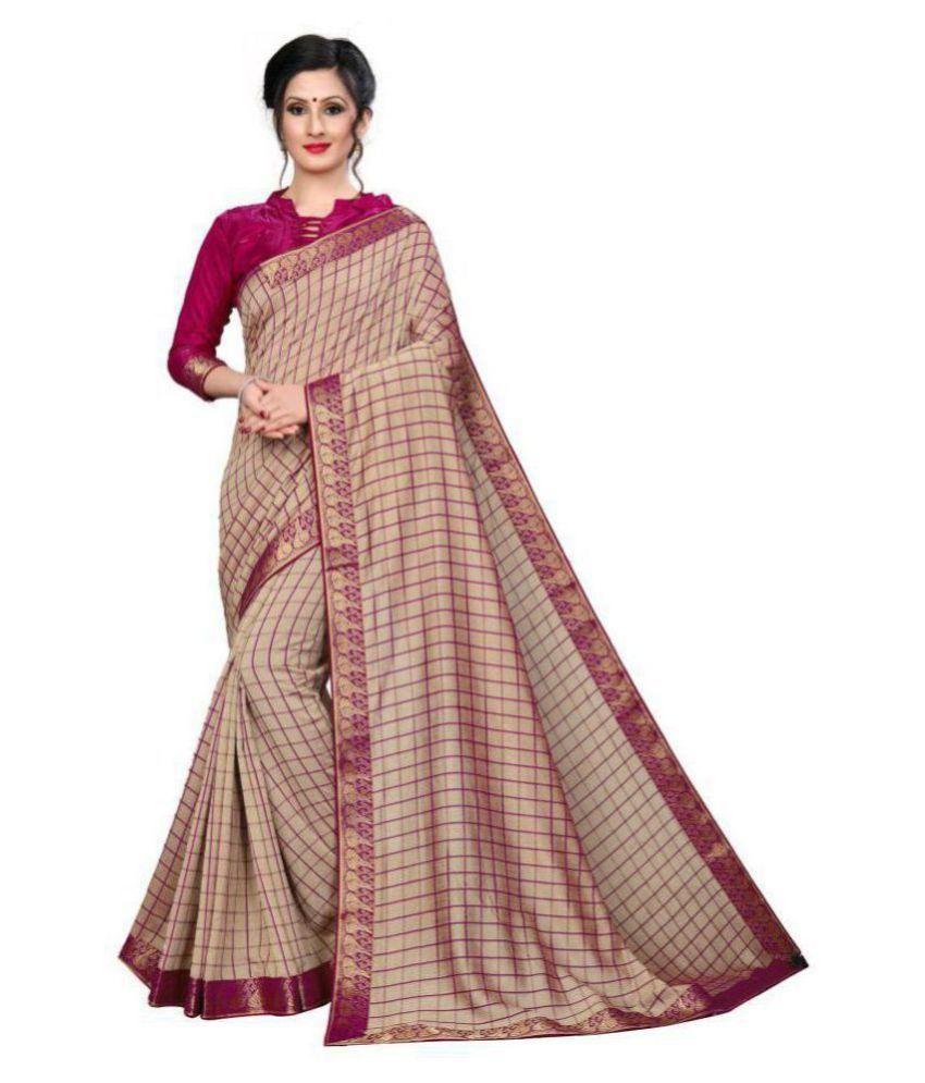 ofline selection Beige,Pink Silk Saree