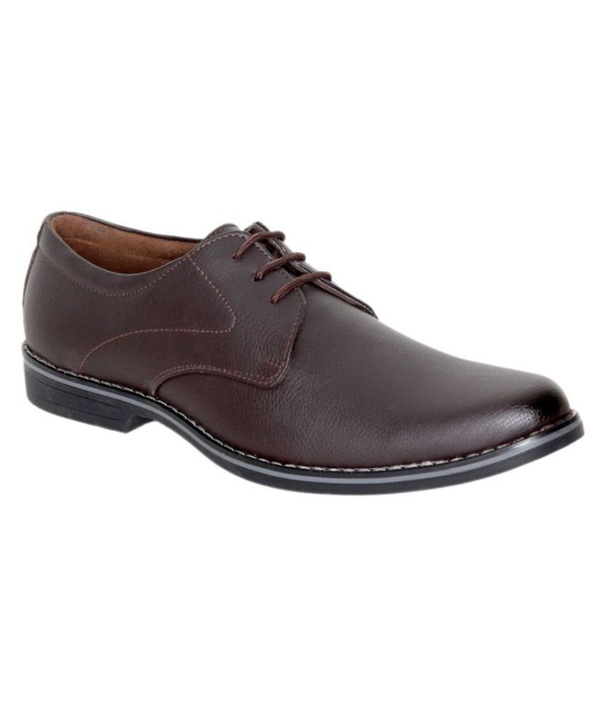 Leeport Artificial Leather Brown Formal
