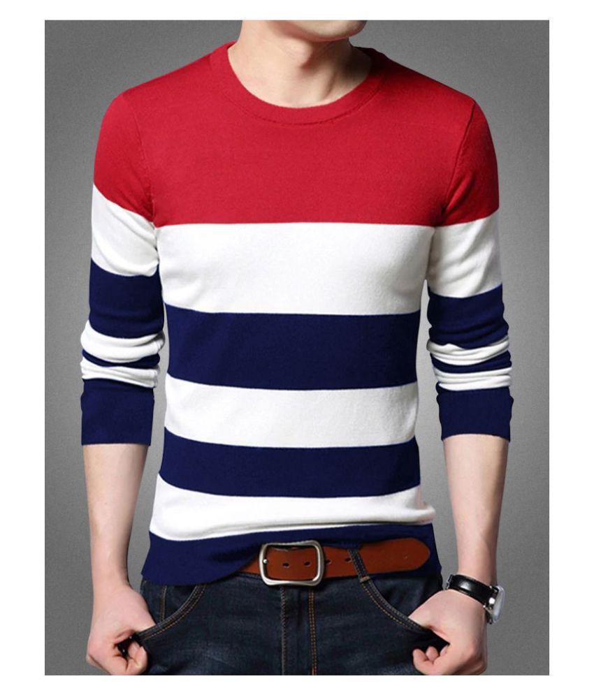 Seven Rocks Cotton Blend Red Striper T-Shirt