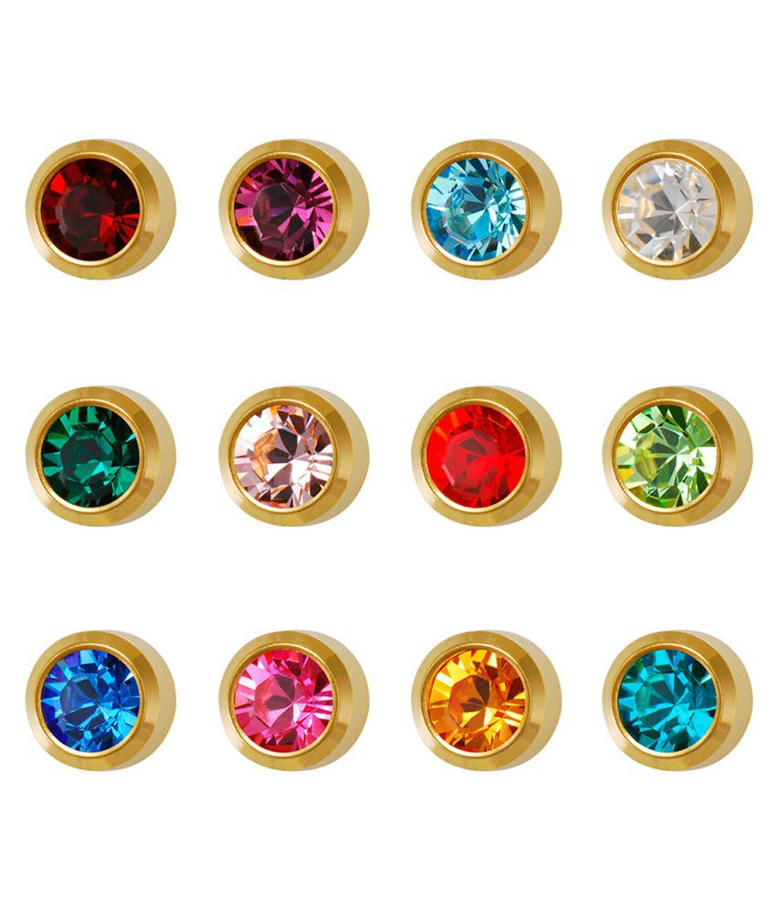 Studex Universal Large Gold Plated 4MM Bezel Assorted January – December Ear Stud (12 Pair)
