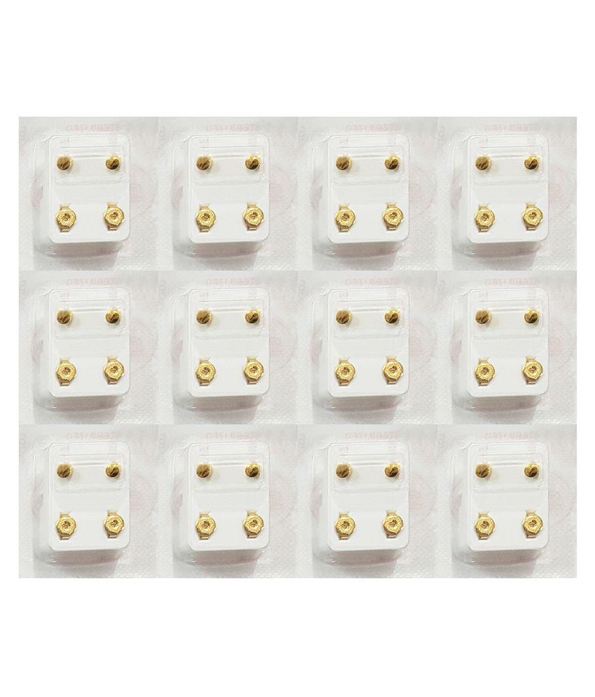 Studex Universal  Regular Gold Plated 3MM Full Moon Ear Stud (12 Pair)