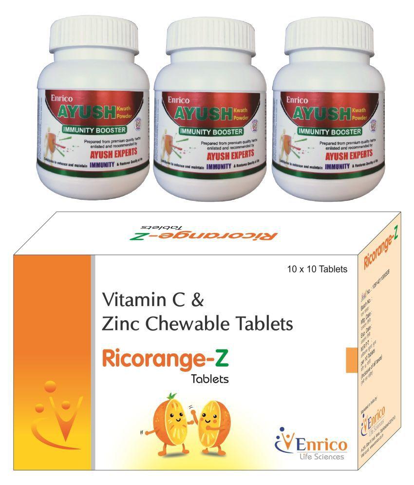 Immunity Booster Combo AyushKwath+Ricorange-Z (3+1) Tablet 270 gm Pack Of 4