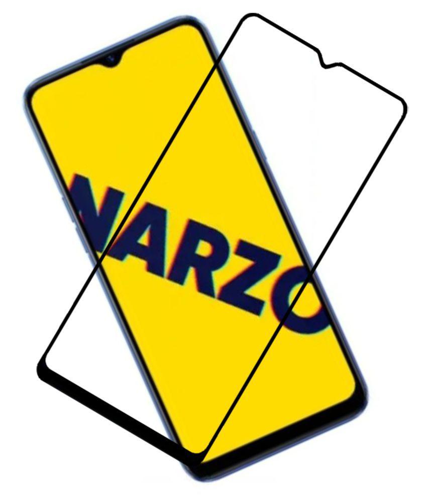 Realme Narzo 10A Full Glue Tempered Glass Screen Guard By VE  -6D TEMPERED GLASS SCREEN PROTECTOR