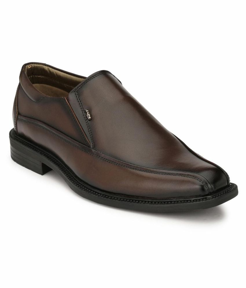 Hitz Slip On Genuine Leather Brown Formal Shoes