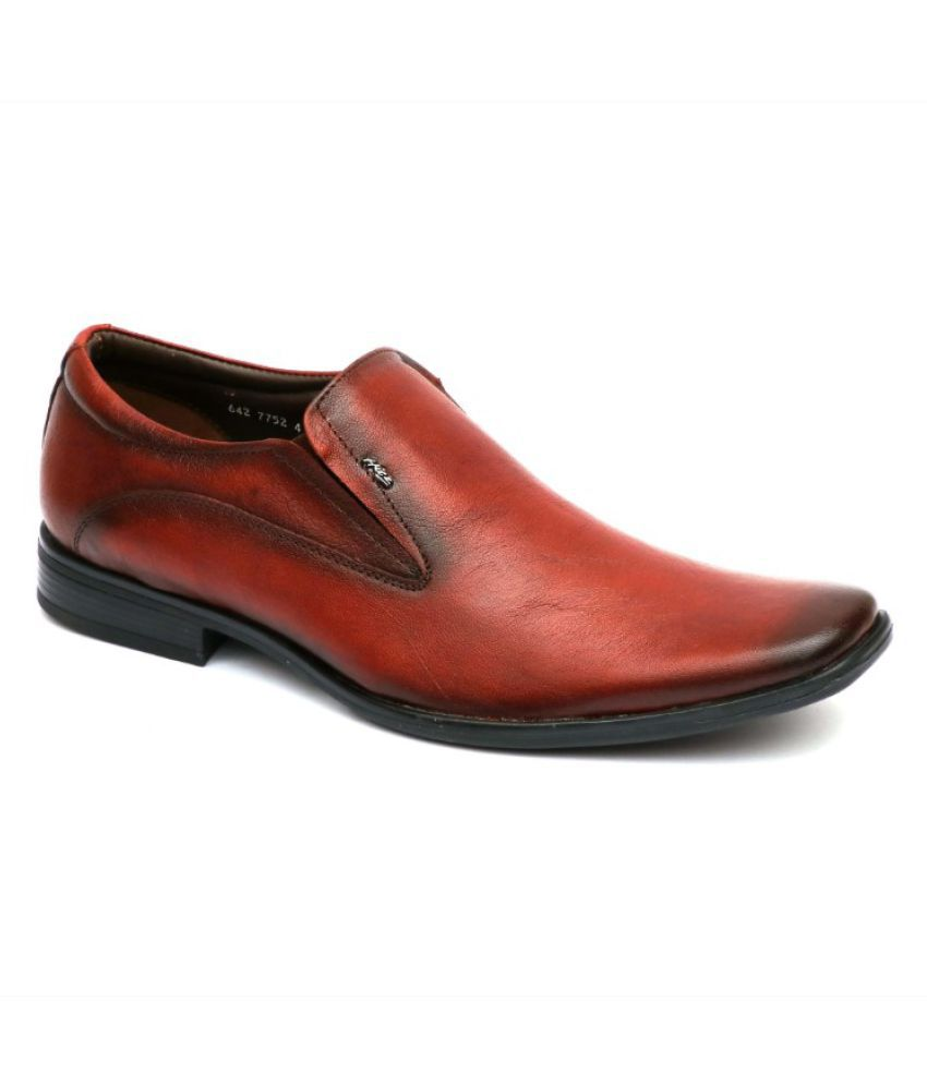 Hitz Slip On Genuine Leather Tan Formal Shoes