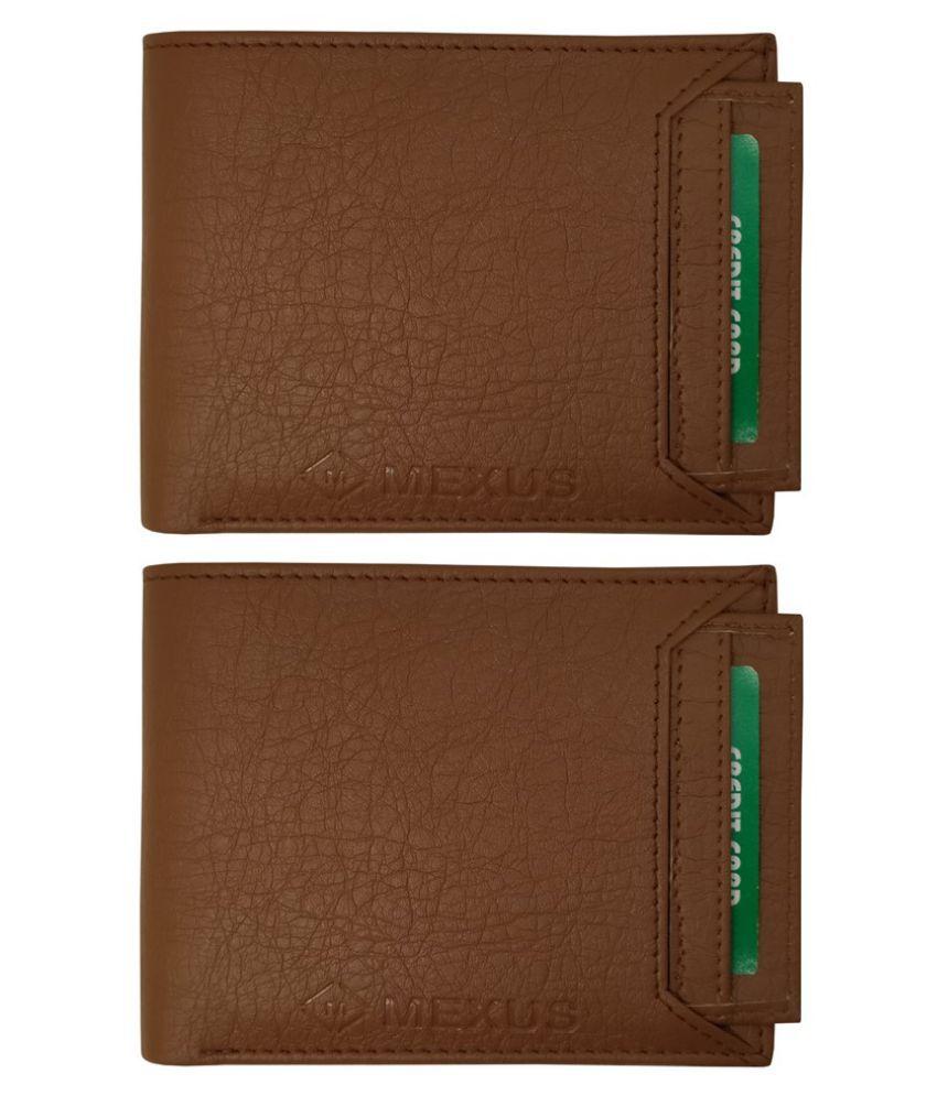 MEXUS PU Brown Casual Regular Wallet