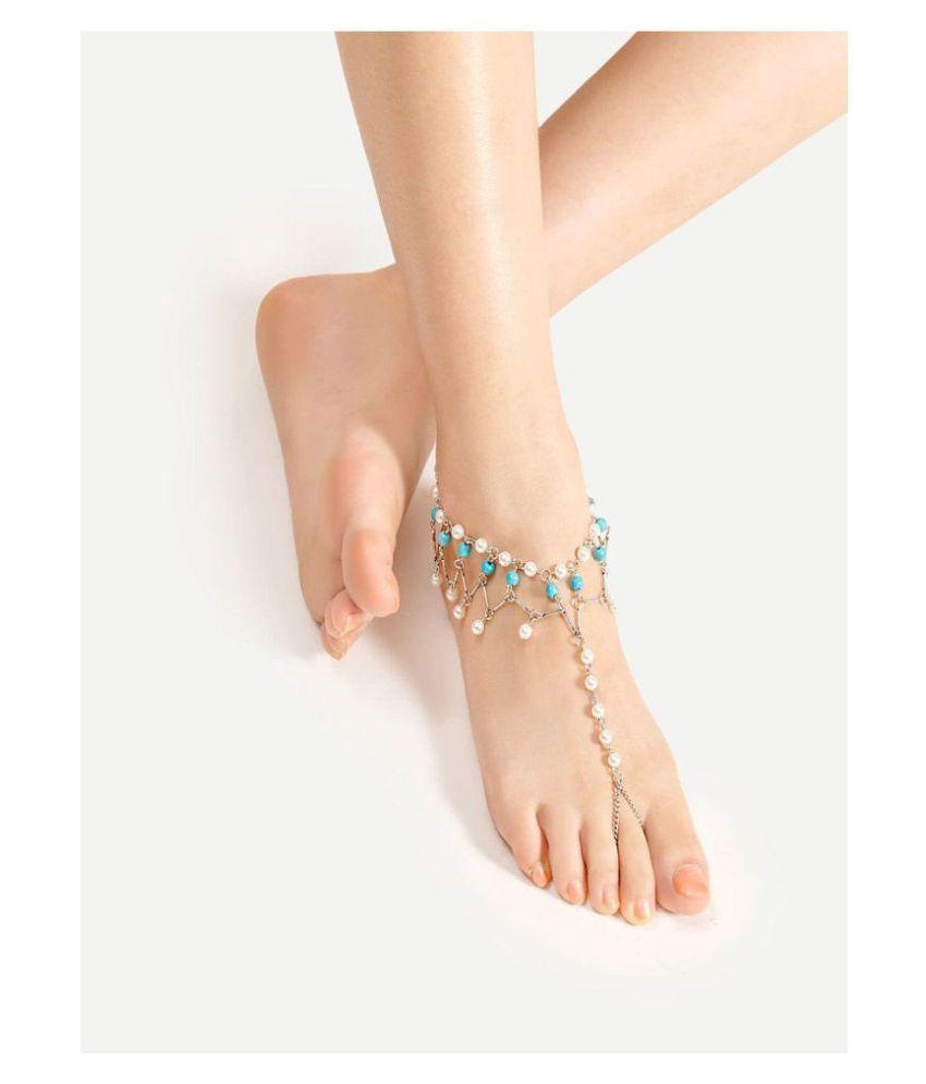 Designer Turquoise Alloy Toe Anklet/Anklet for Women and Girls