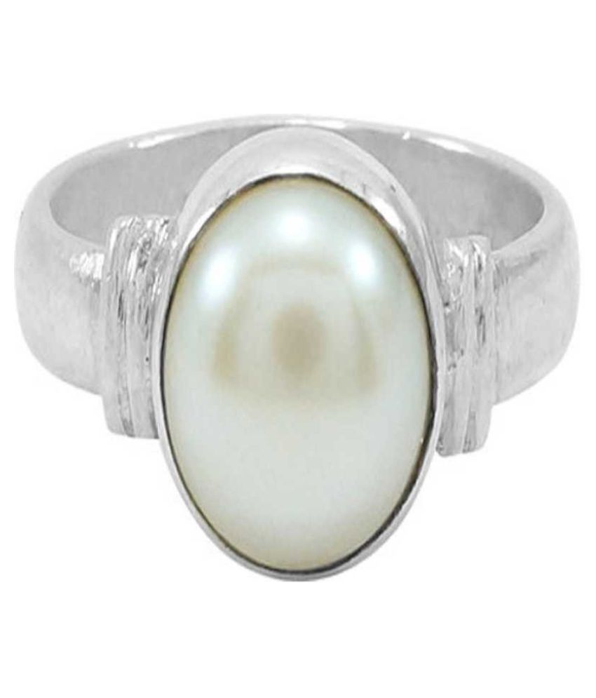 Moti natural ring With Original and lab certified stone Stone Pearl Silver Plated Ring