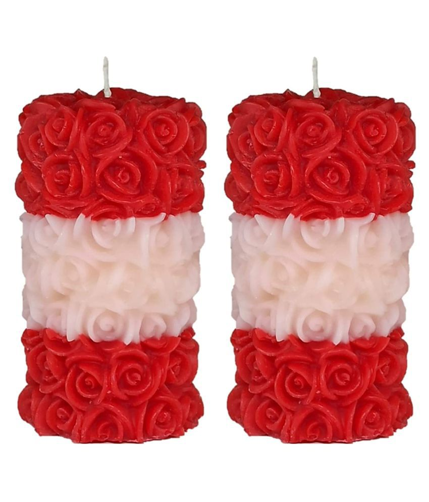 Shraddha Creation Multicolour Pillar Candle - Pack of 2