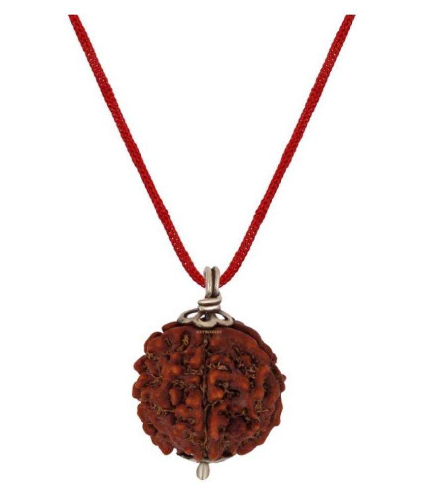 Astrodidi Five Face Rudraksha/ 5 Mukhi Rudraksha / 5 Face Rudraksha Silver Pendant With Lab Certificate