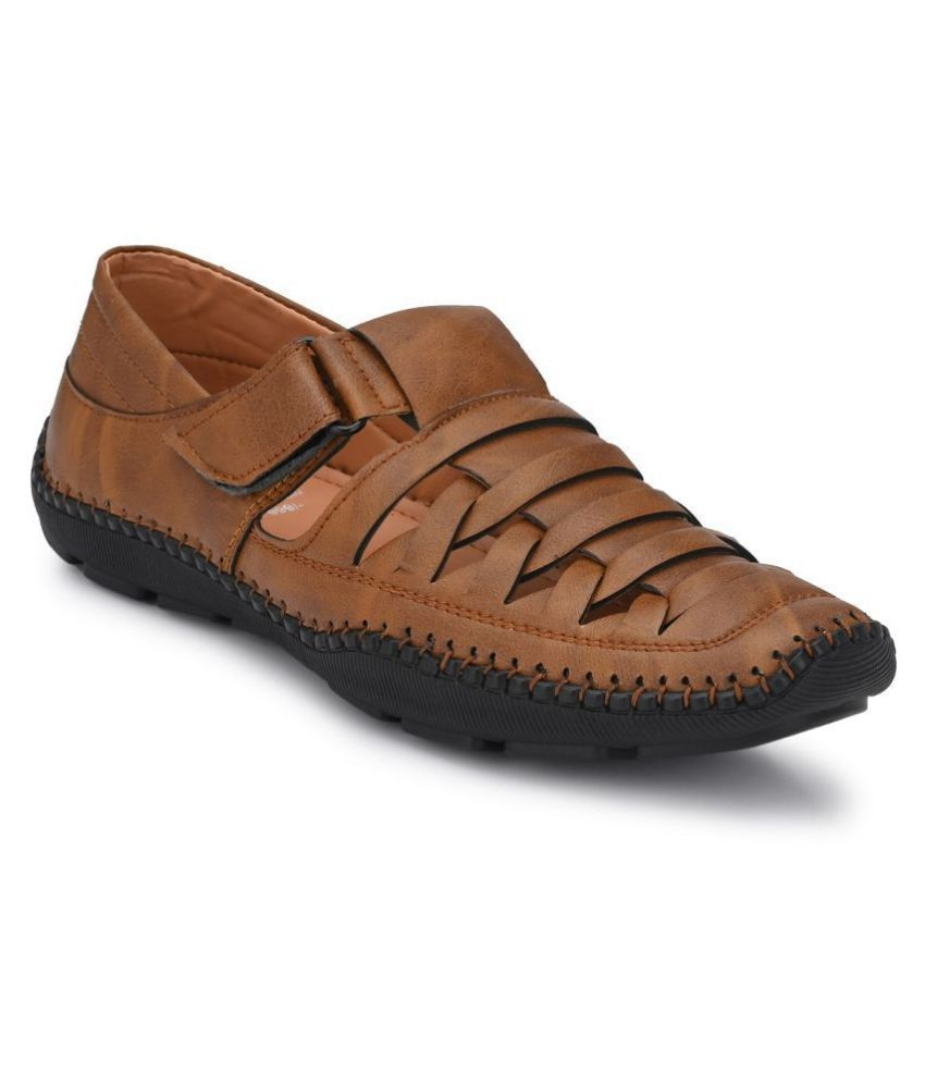 FOGGY Tan Synthetic Leather Sandals
