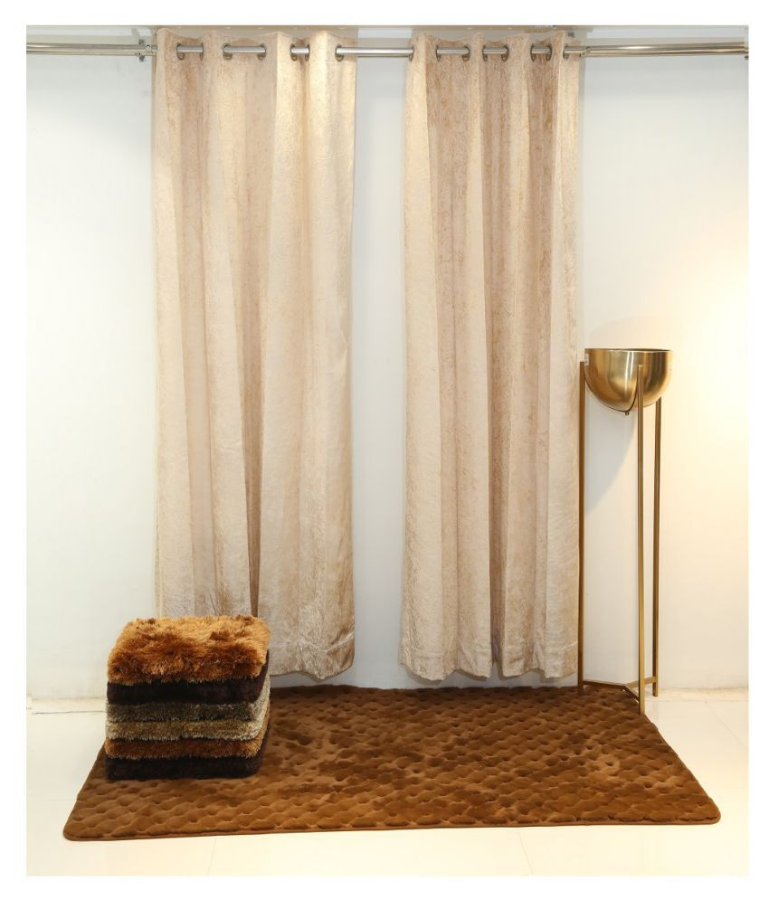 Florance Set of 2 Door Ring Rod Polyester Curtains Cream