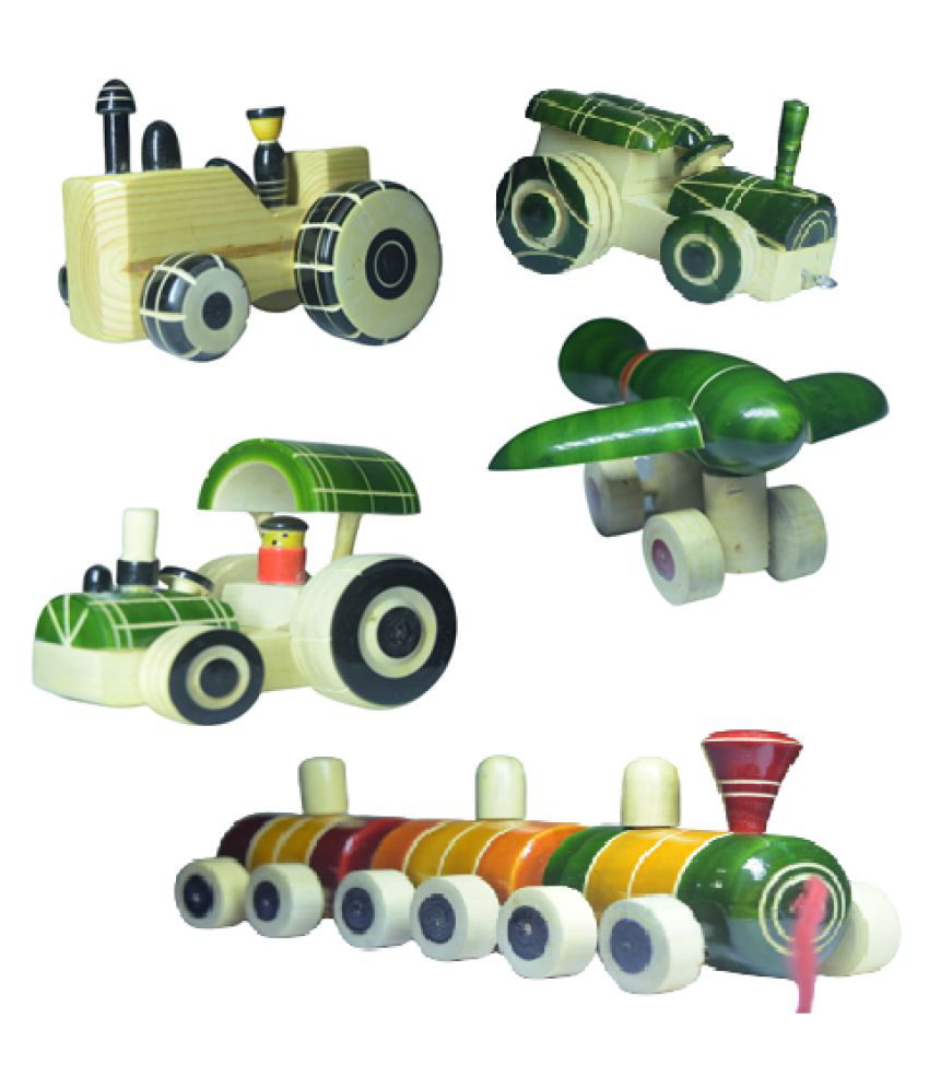 Handcrafted Super Combo Channapatna Vehicle pulling toys for kids