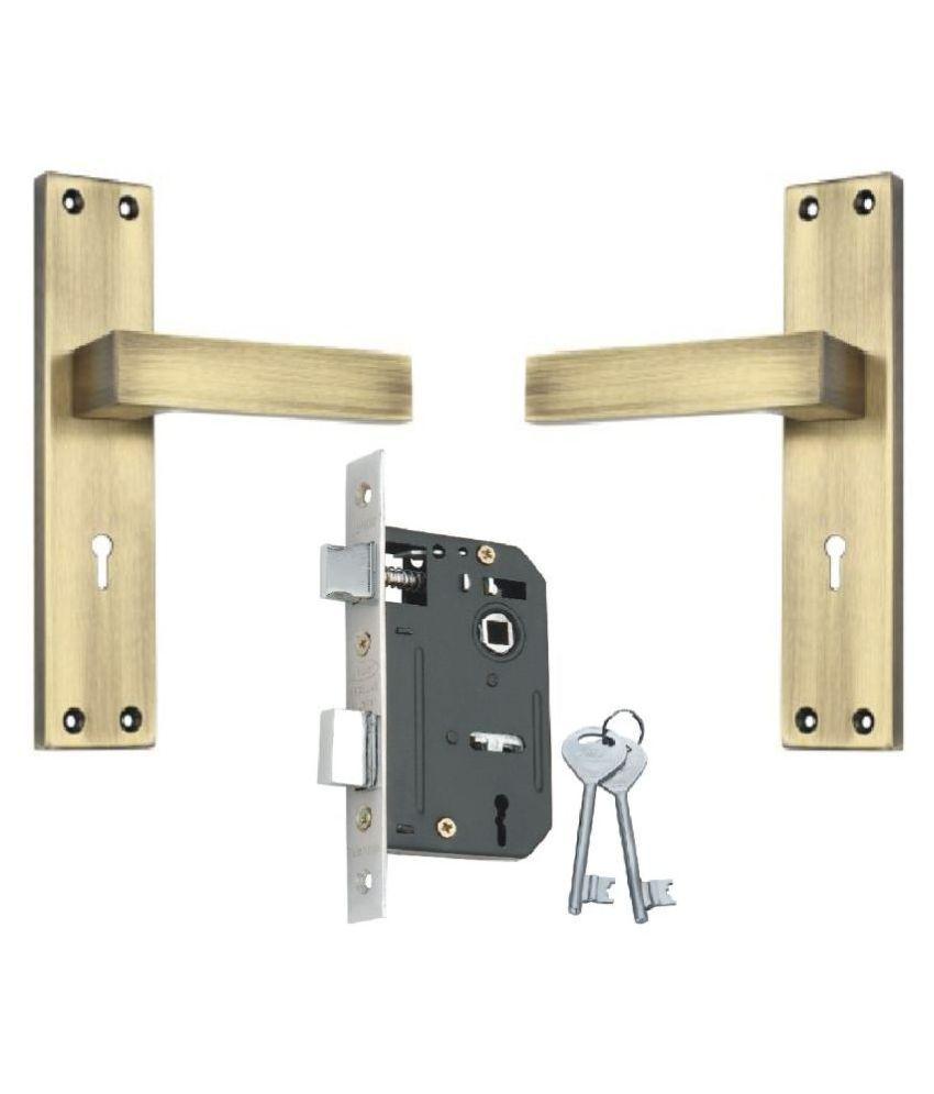Steel - Aluminium Door Mortice Lock Set KY Lock body single action with Antique Brass Finish [RML4 + IALM01AB]