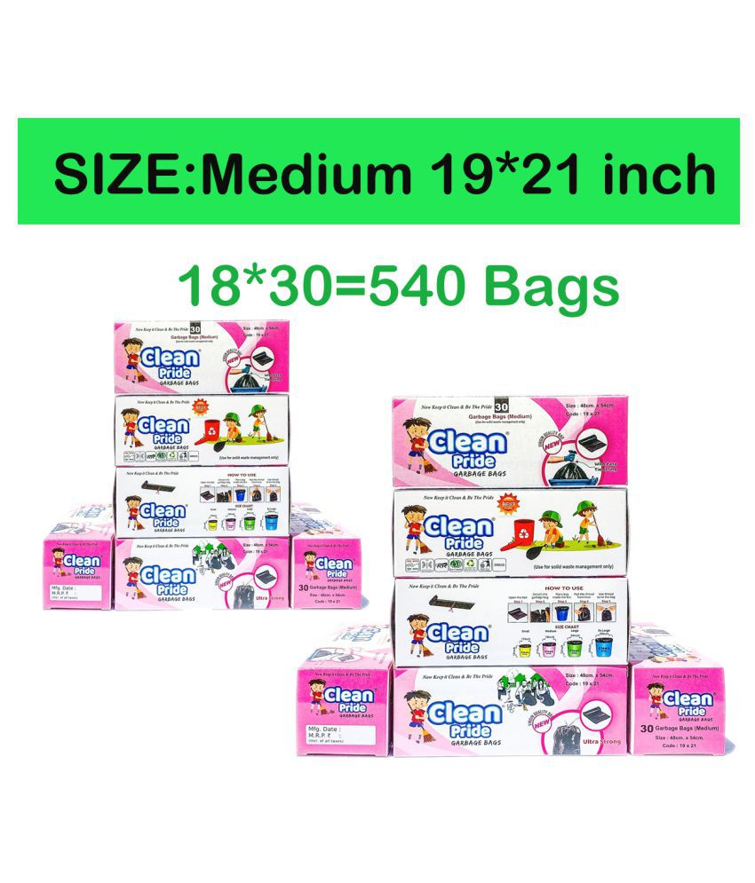 Clean Pride Dustbin Cover Trash Waste Disposal Garbage Bags Medium 19 x 22 Inches Combo of 18 rolls x 30 Bags=540 Bags (Green)