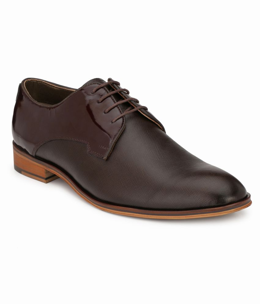 Hitz Derby Genuine Leather Brown Formal Shoes