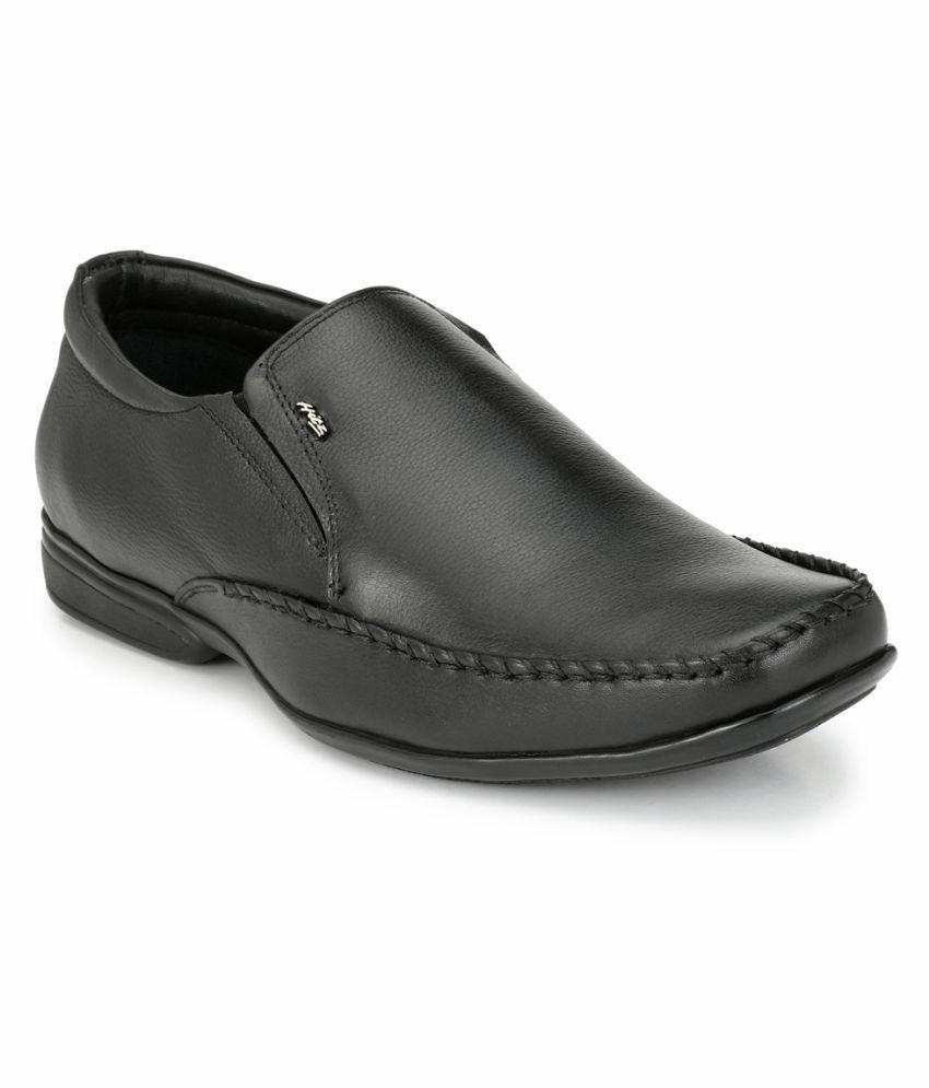 Hitz Slip On Genuine Leather Black Formal Shoes