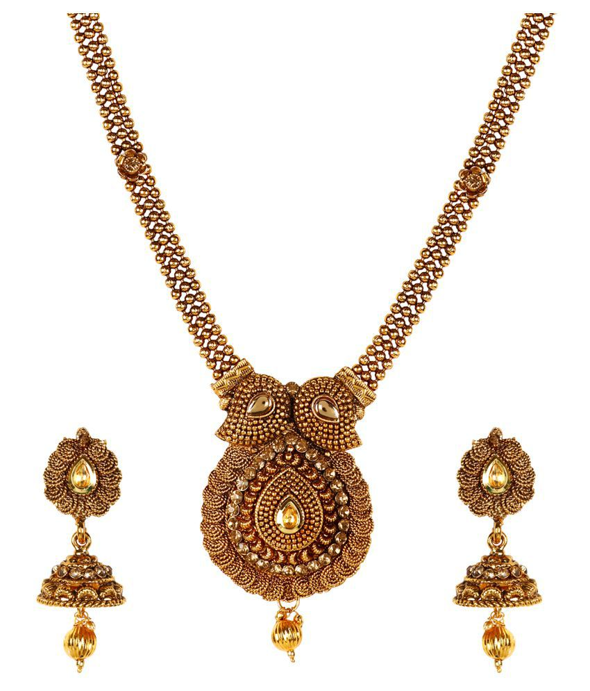 Jewels Gold Traditional Ethnic Gold Plated Wedding Wear Cary Shape Look & Jhumki Erring Pendant Set For Women & Girls