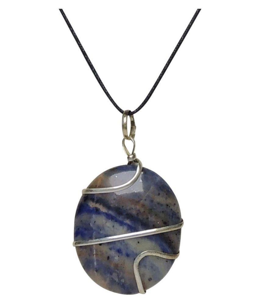 Satyamani Natural Sodalite Wrapped Free Shape Cabochon pendant