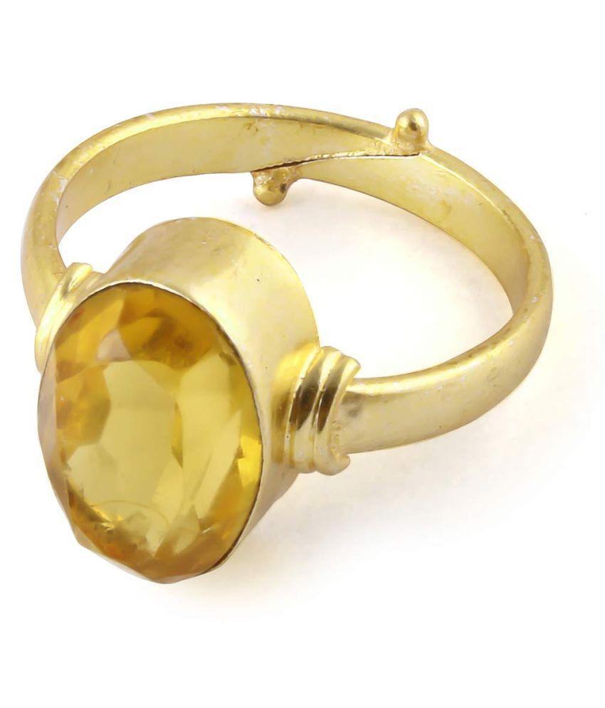 6.25 Ratti Pukhraj Guru Graha Rashi Ratan Panchdhatu Natural Yellow Sapphire Gemstone Adjustable Ring Anguthi for Astrological Purpose for Men