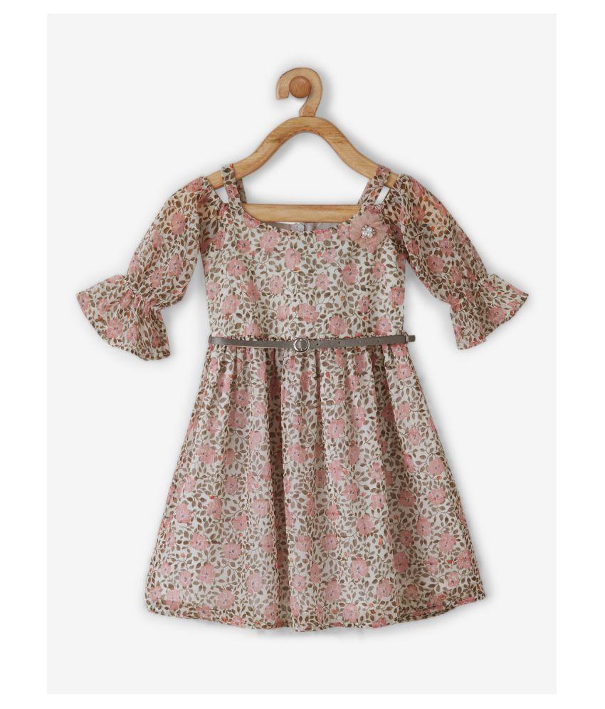 Powderfly Girls Beige Georgette Floral Round Neck Mini Dress