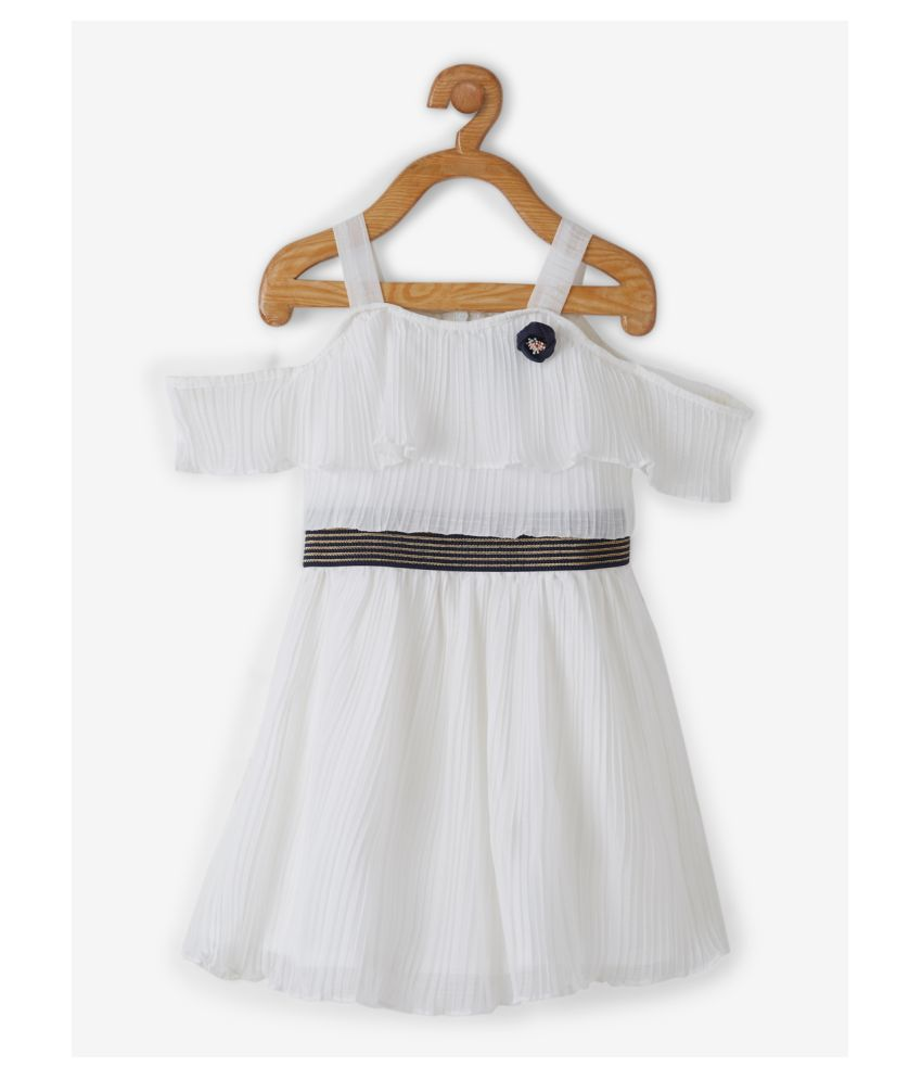 Powderfly Girls White Georgette Solid Round Neck Mini Dress