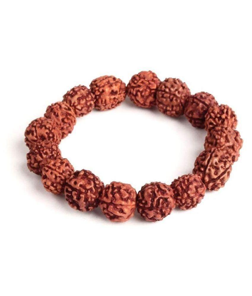 Natural 5 Face Rudraksha 10 mm Beads Free Size Elastic Bracelet, Yoga Meditation Bracelet