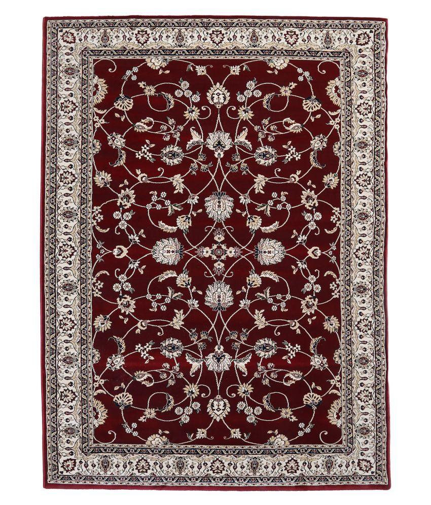 Obsessions Red Polypropylene Carpet Floral 5x5 Ft