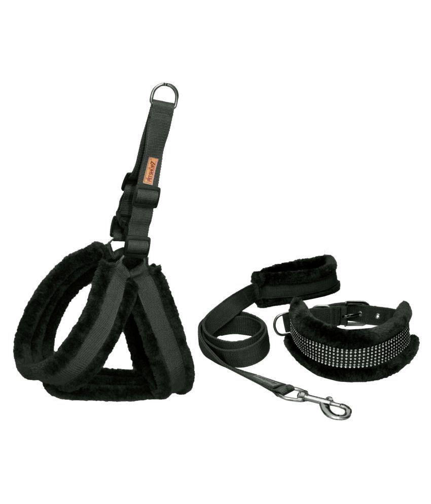 Petshop7 Nylon fur 1 Inch Medium Dog Harness, Dog Collar & Leash (Chest Size : 26-30 inch)