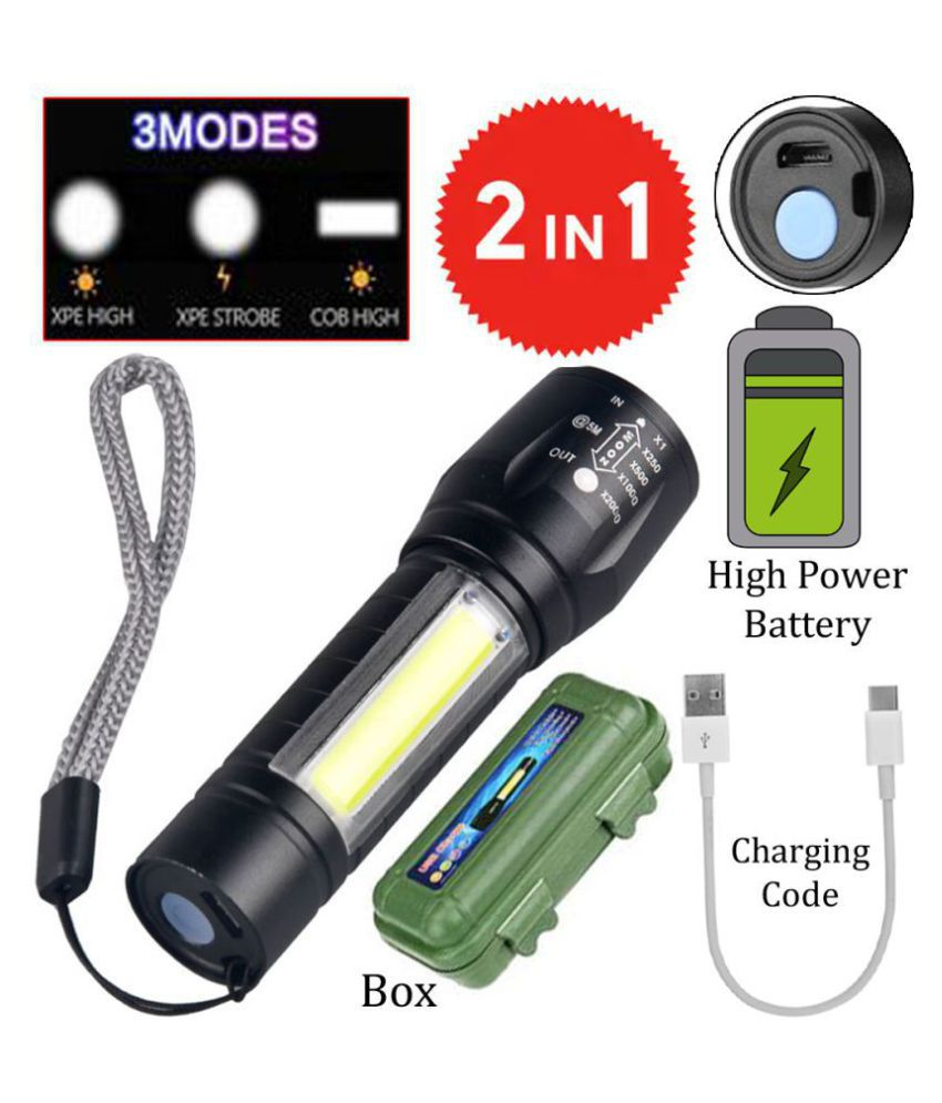 SS 500M Zoomable Rechargeable LED 4 Modes Torch 4W Flashlight Torch 500M Zoomable Torch - Pack of 1