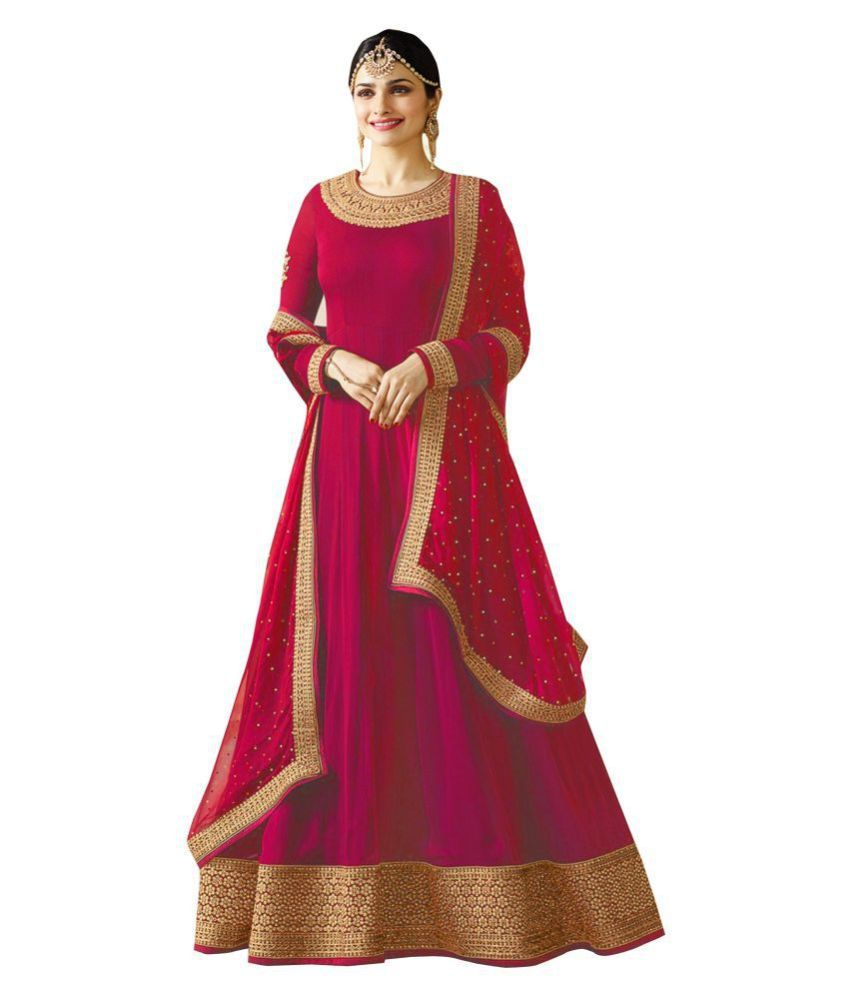 JOGMAYA FASHION Pink Georgette Ethnic Gown