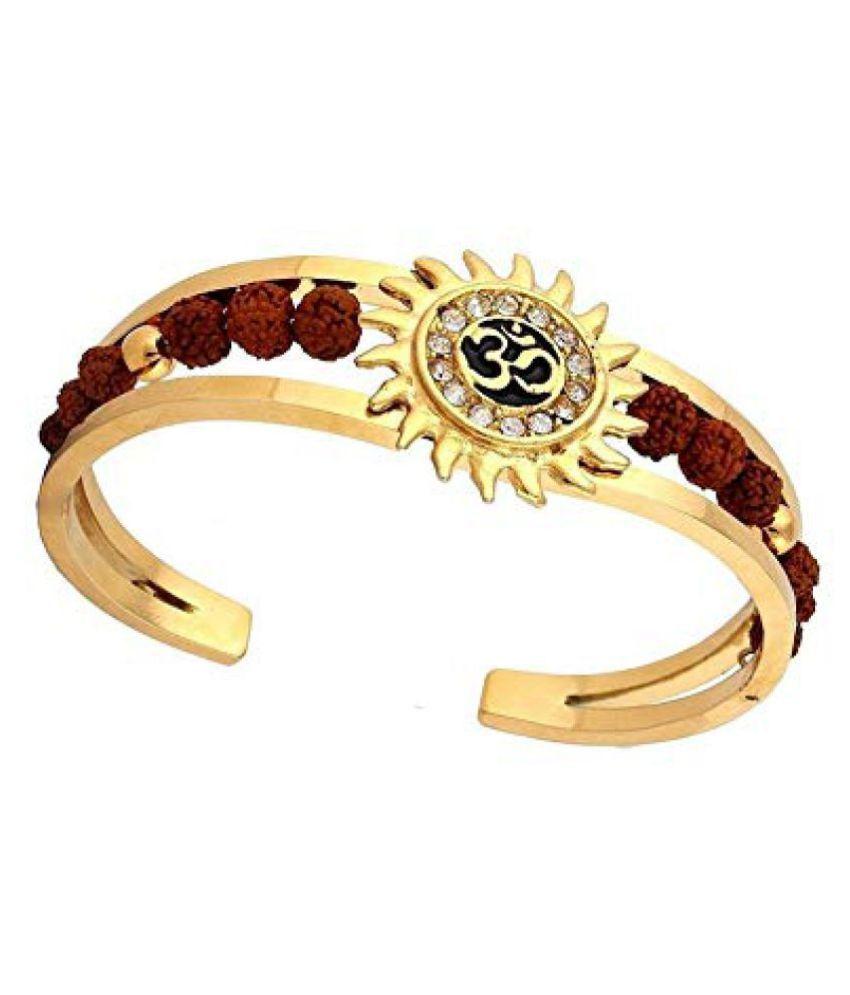 Onnet Rudraksha High Quality Gold Plated Brass Om Mens Kada (adjustable Size)
