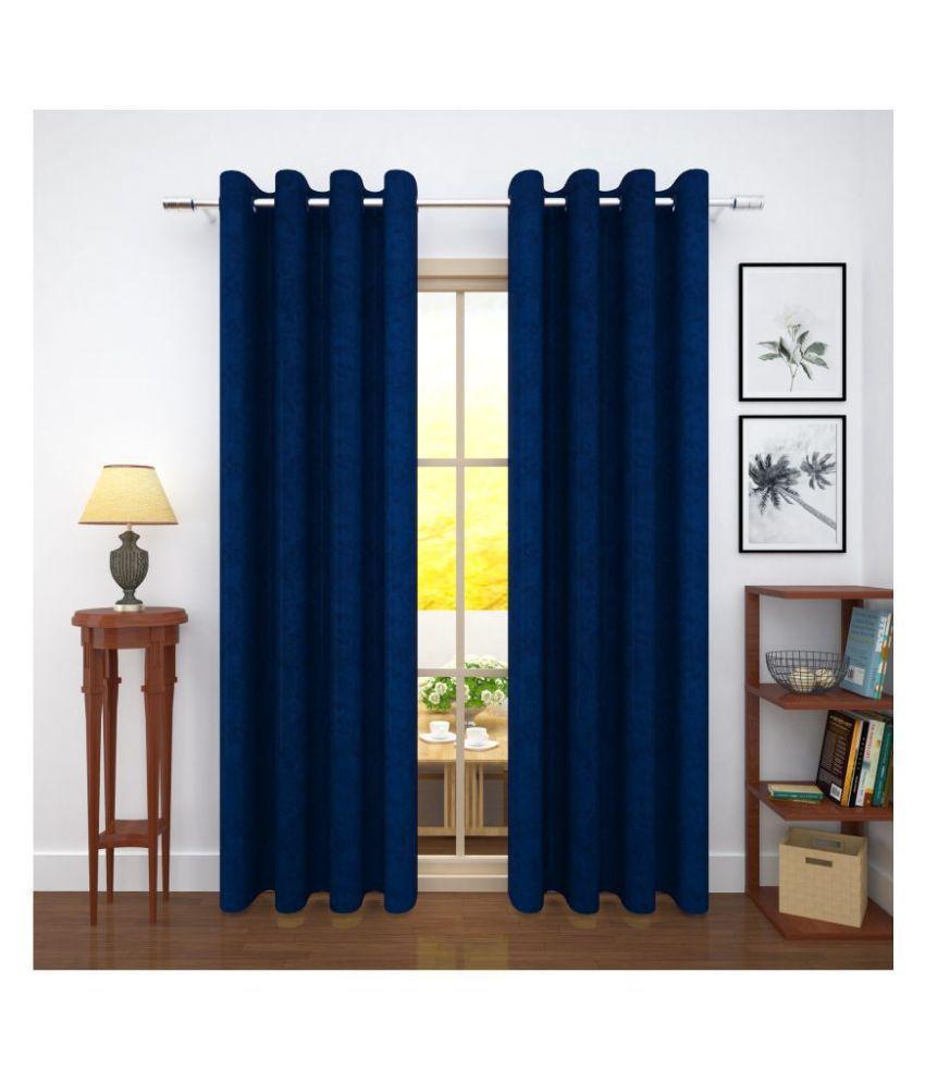 Story@Home Set of 4 Door Blackout Room Darkening Eyelet Jute Curtains Blue