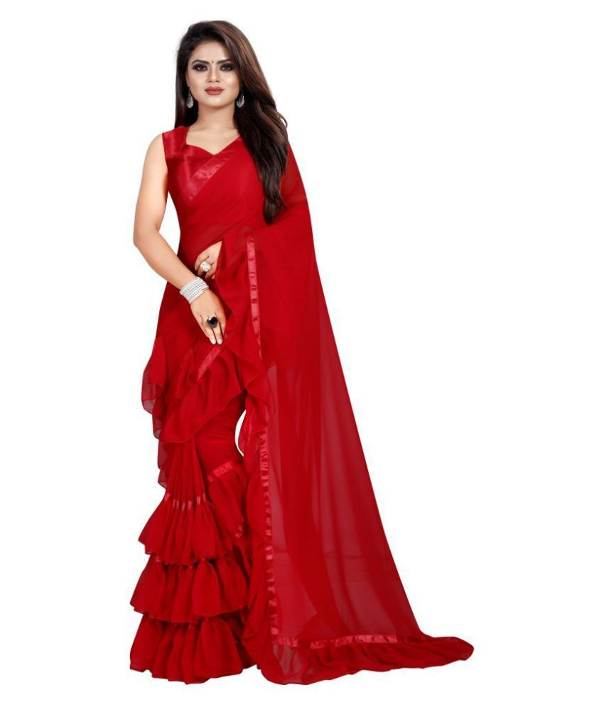 parthsarees Red Georgette Saree