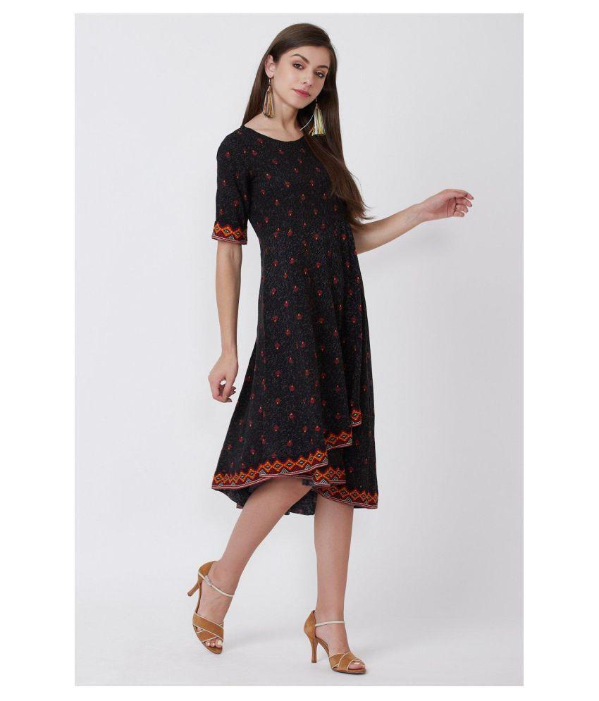 Rangriti Viscose Black Regular Dress