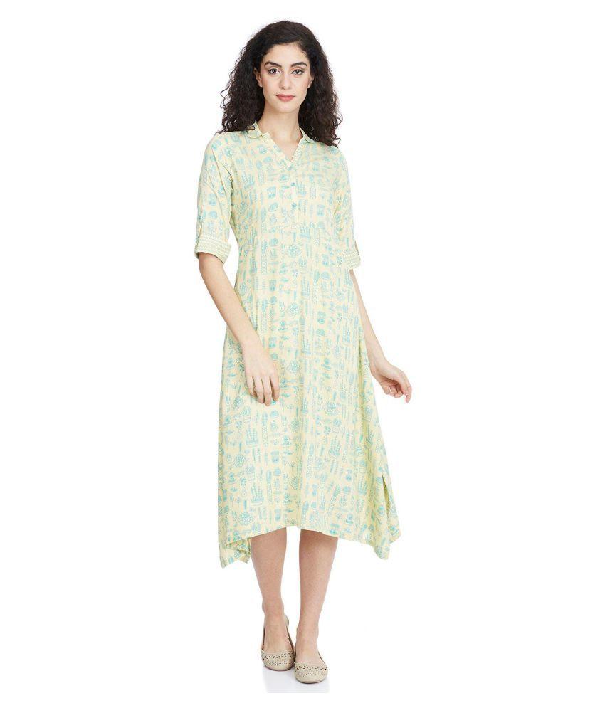 Rangriti Viscose White Fit And Flare Dress