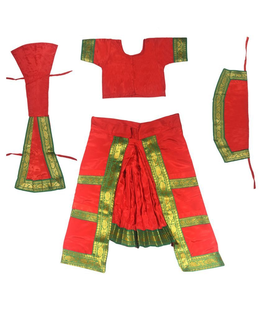 Fancy Dressup Red Bharatnatyam dress for 4 to 6 year girls
