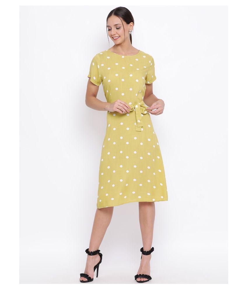Crimsoune Club Rayon Yellow Shift Dress